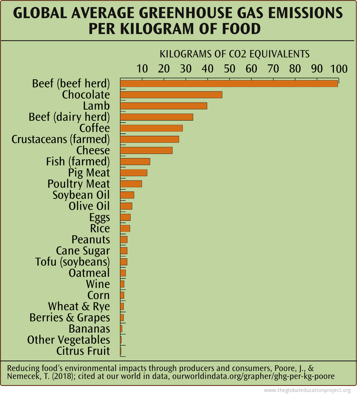 Greenhouse Gas Emissions per Kilogram of Food