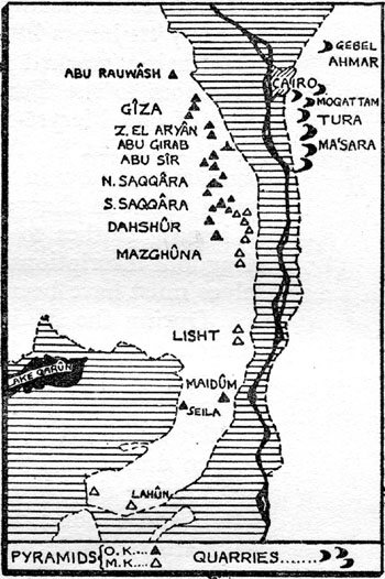 Giza On Line The Pyramids Page Quarries - Map of egypt with pyramids