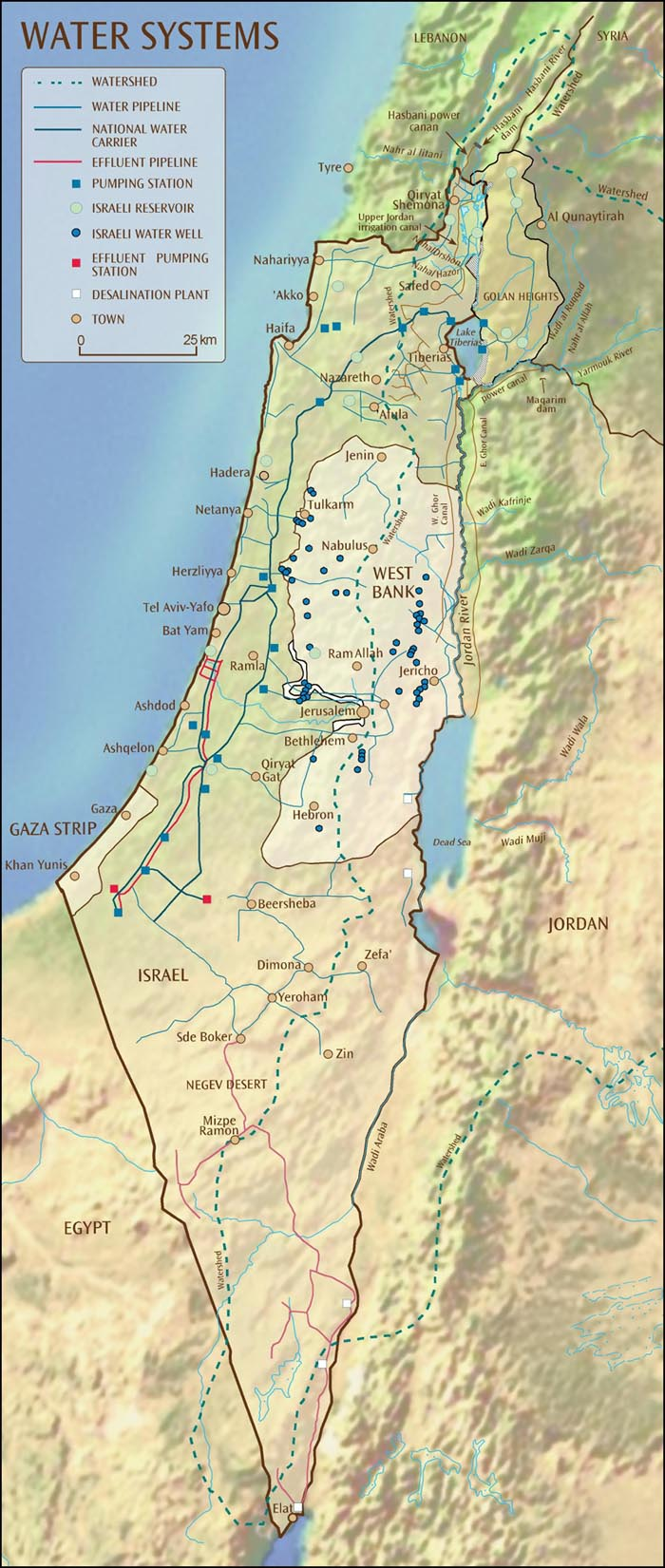 The Middle East - Maps - Israel\'s Water Systems