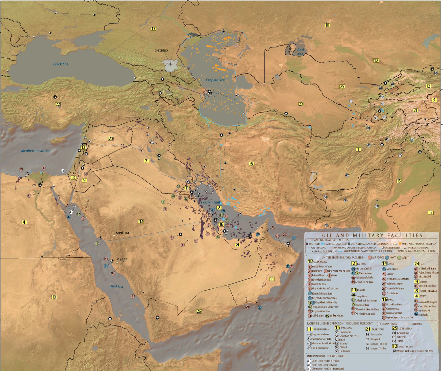 Map Oil And Gas Fields Oil And Gas Pipelines Refineries Export Terminals And Us Military Facilities The Middle East Information