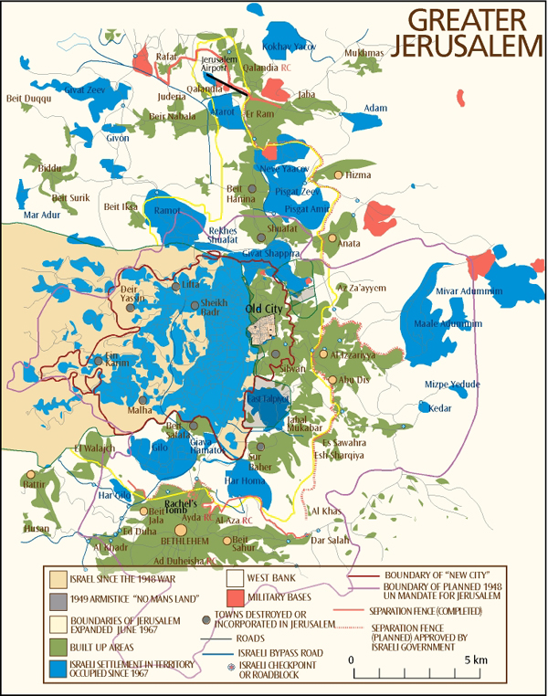 The Middle East - Information - Maps - Greater Jerusalem Map